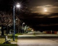 Kew beach boardwalk at night
