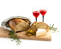 Bread, cheese and wine - food and drink