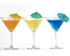 Martini glasses with colored drinks - food and drink