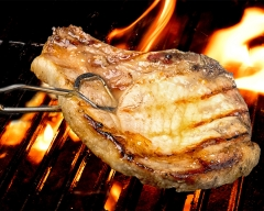 Food porkchop on a BBQ