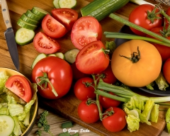 Food tomatoes and cucumbers