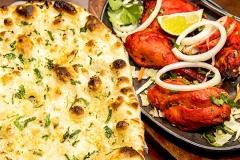 Garlic Naan and Tandoori Chicken Indian Cuisine food