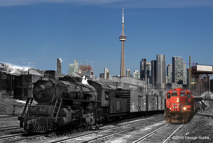 CNR engine 2499, looking east.towards Strachan Ave 1955 with CN Tower