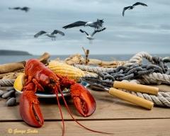 Lobster dinnr on a dock - food